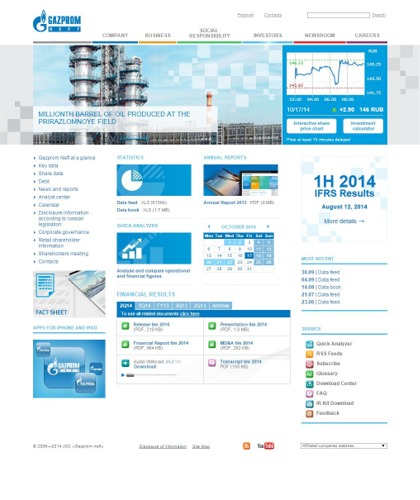 The IR Web Site of Gazprom Neft