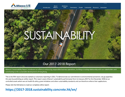 Alliance Sustainability Report 2017�2018